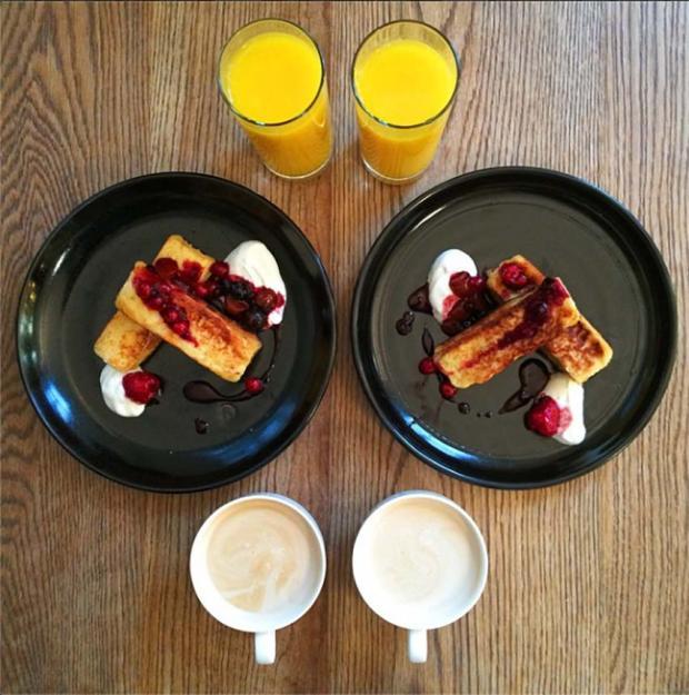 Breakfast orange juice coffee waffle