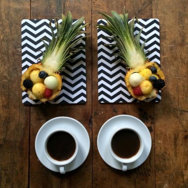 Breakfast pineapple coffee fruits