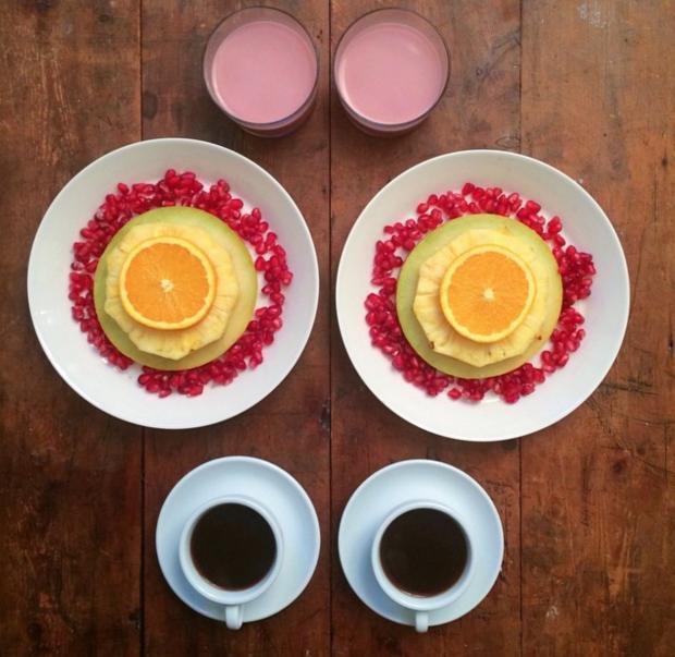 pomegranate black coffee pineapple orange and strawberry juice