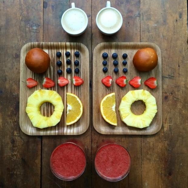 smoothie coffee and fruits