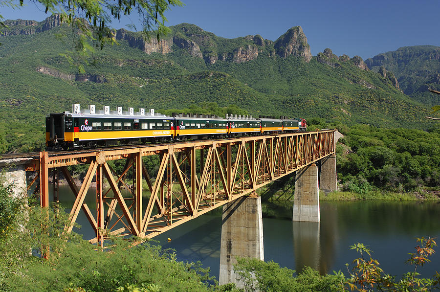 Copper Canyon in Mexico by train on bridge