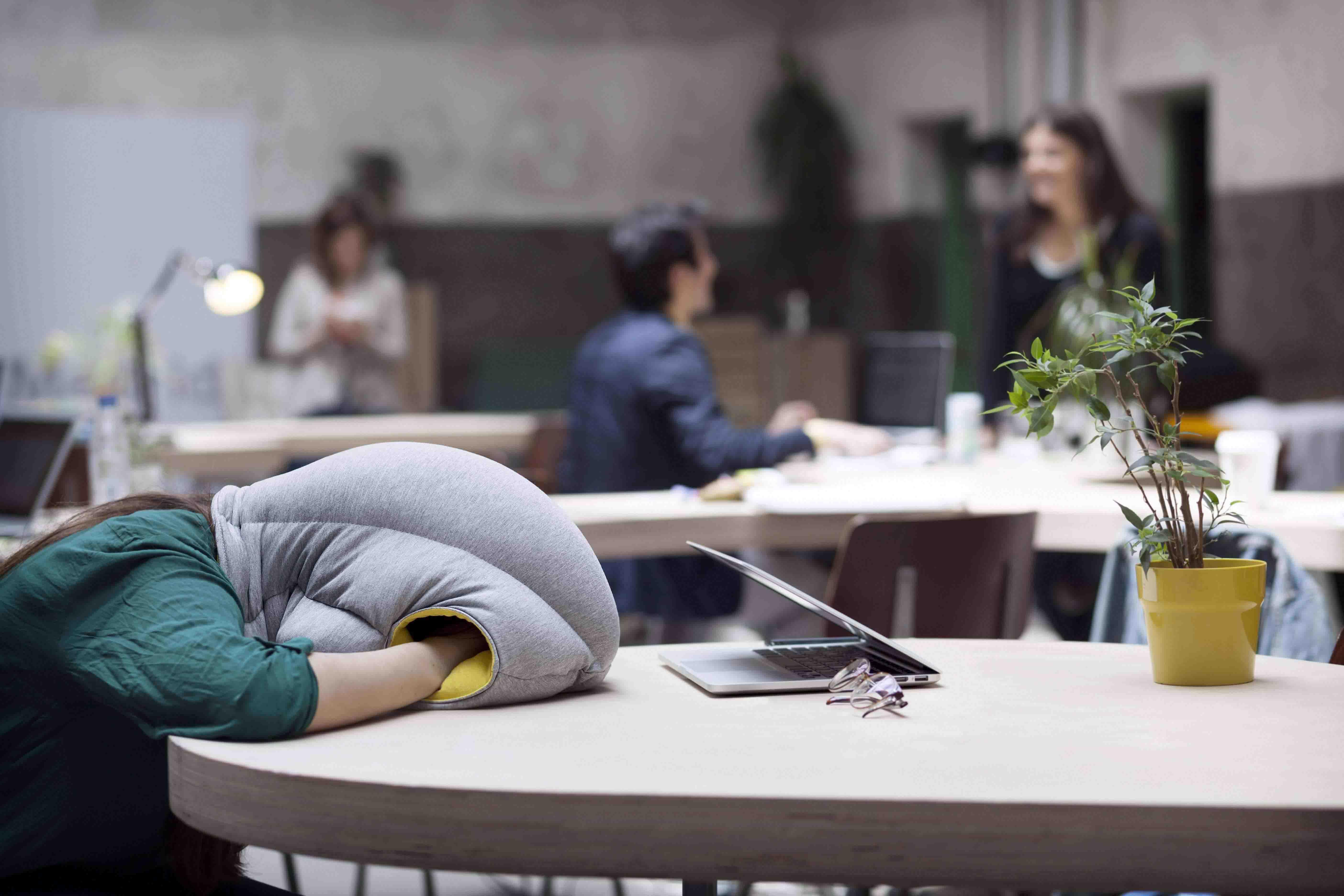 OSTRICH PILLOW girl sleeping on her desk