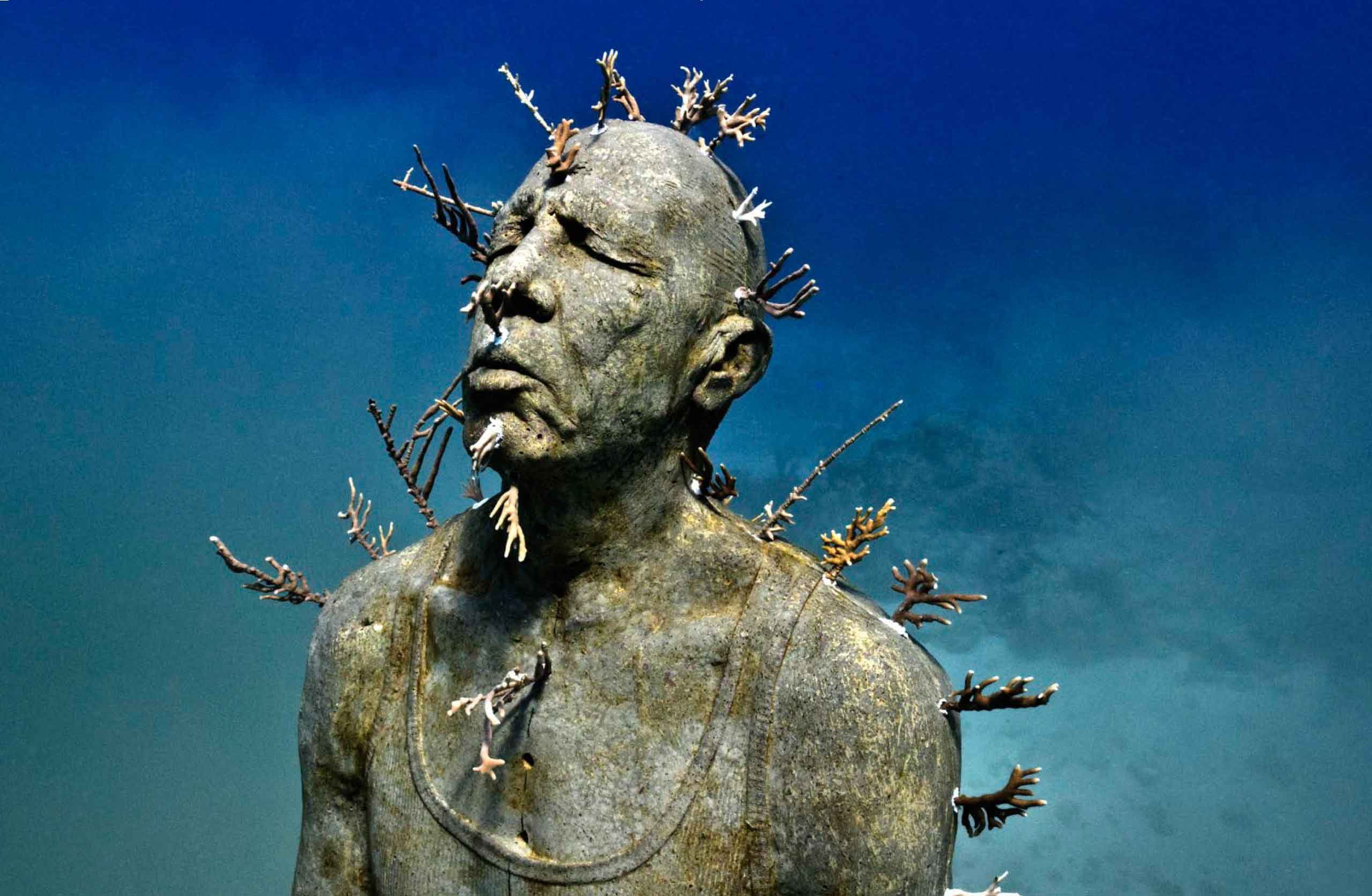 Underwater Museum in Cancun man
