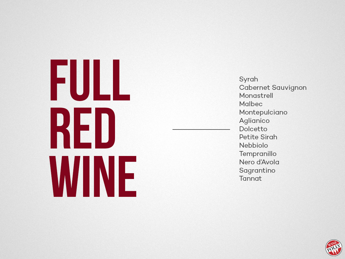 different kinds of red wine