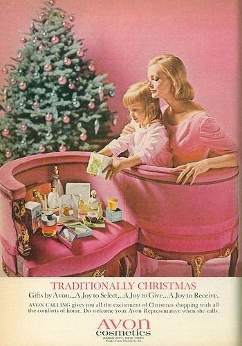 1963 Parents Magazine Avon ad mother and child opening presents under christmas tree