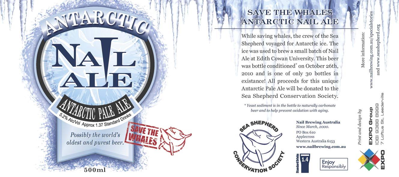Antarctic_Nail_Label Beer made of Antarctic melted ice