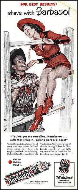 Barbasol vintage ad cowboy and woman flirting