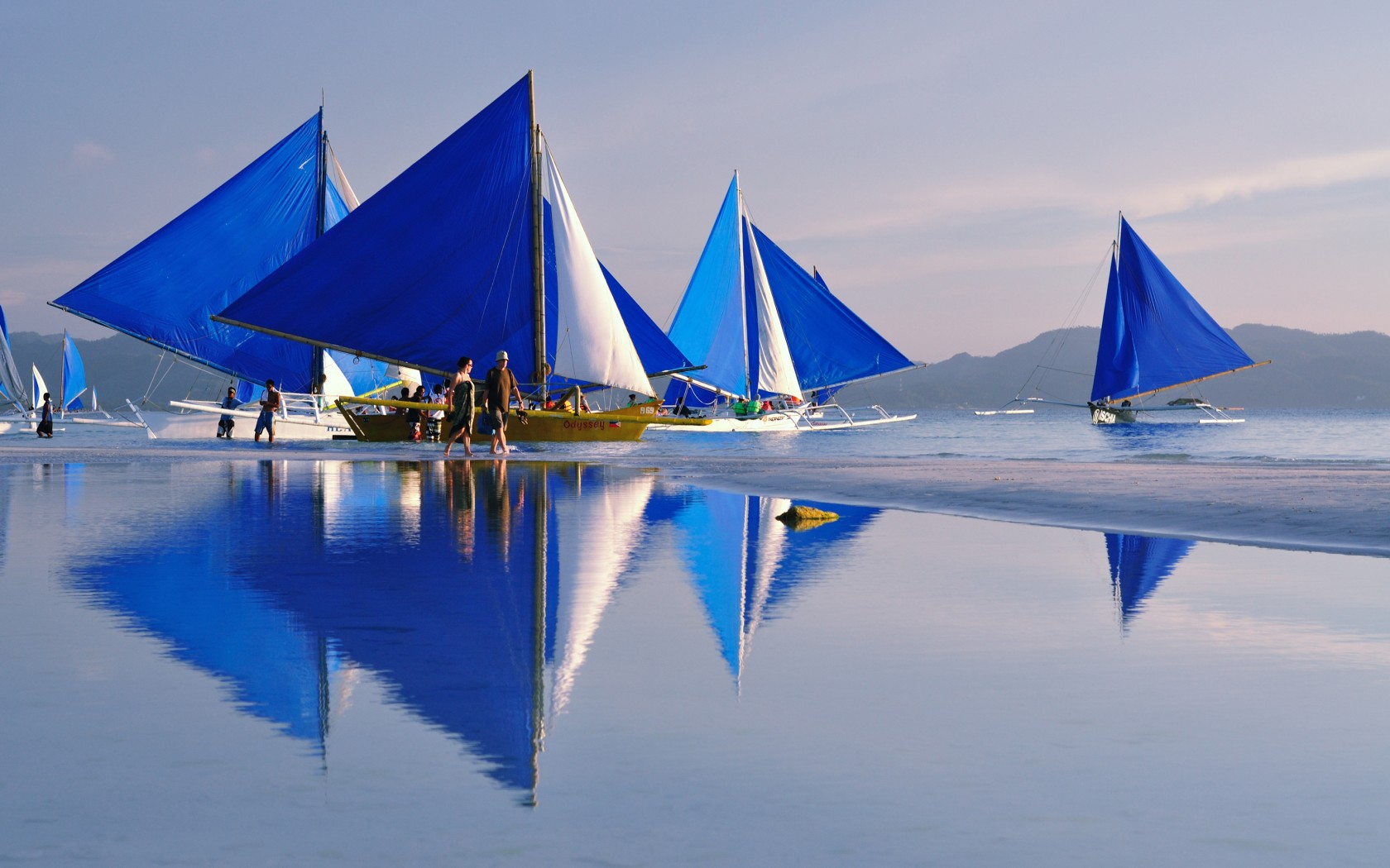Boracay beach boats in philippines