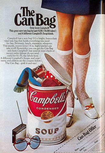 Campbell's soup vintage ad, 1969 woman's sexy socks