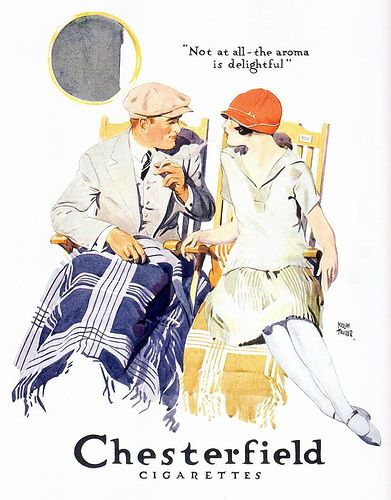 Chesterfield Cigarettes ad, 1926 couple smoking cigarettes