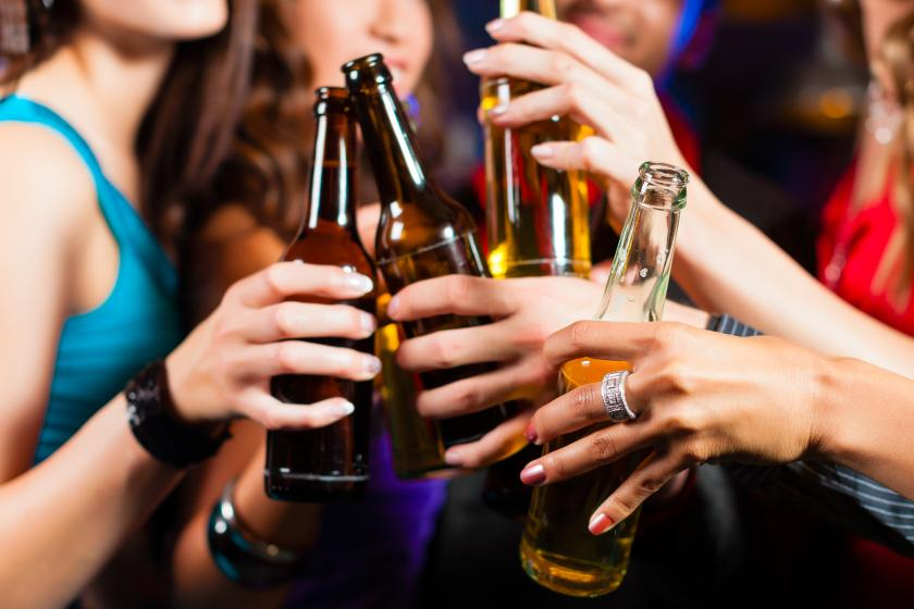 Folks cheering with alcohol Abstinence is more dangerous to health than drinking