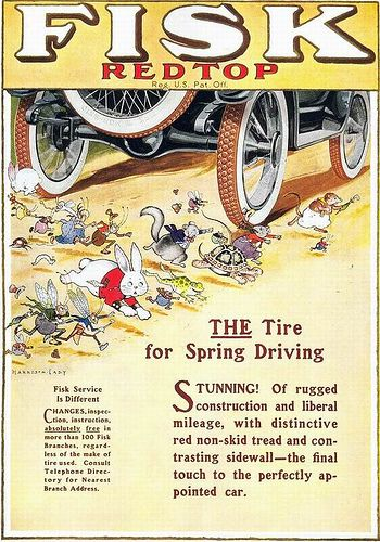 Harrison Cady, Fisk Red Top Tires ad, 1917