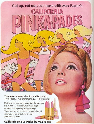 Max Factor ad, 1967 blonde woman with make up