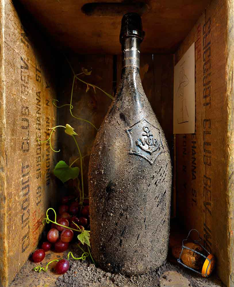 Old wine bottle with grapes and corc