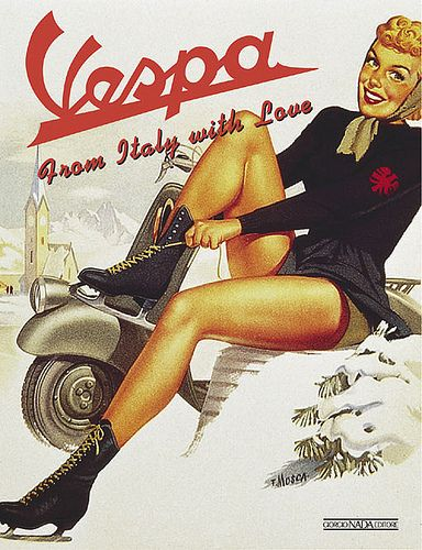 Vespa ad with blonde girl
