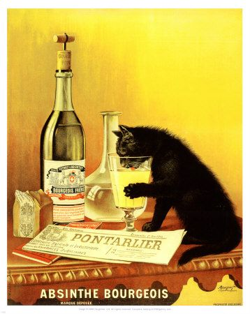 absinthe ad with cat