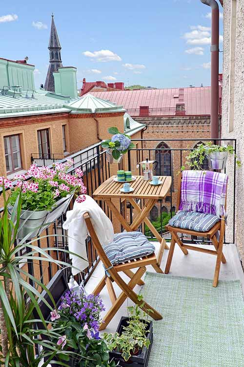 beautiful small balcony with sweet furnitures