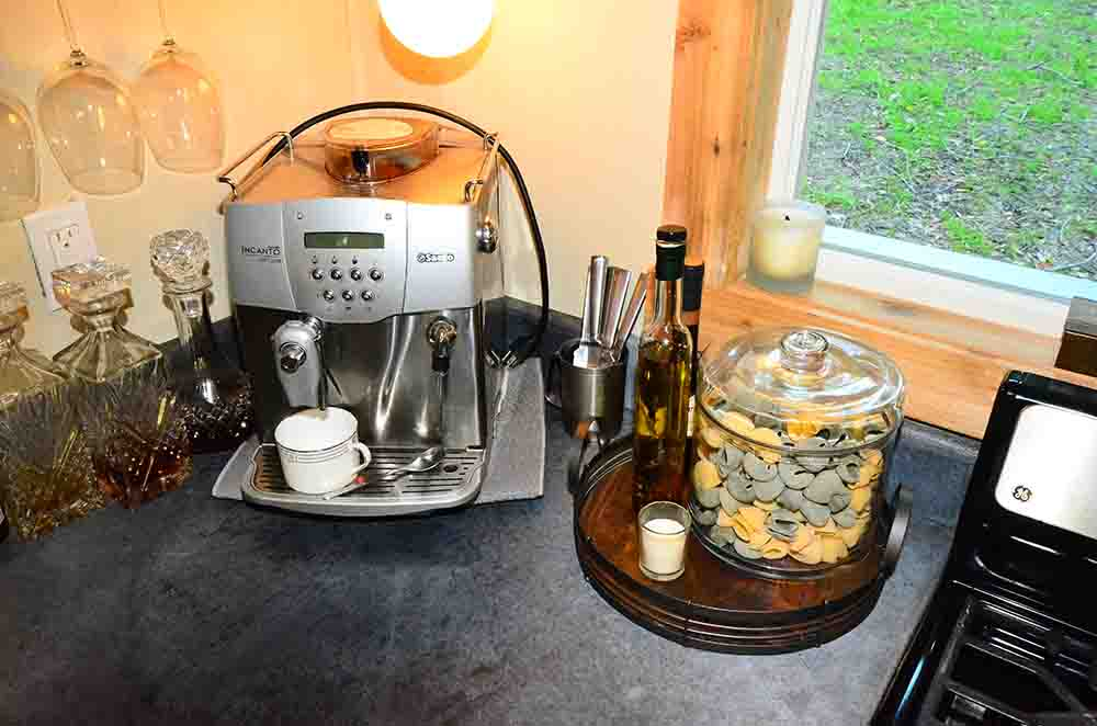 coffee machine in kitchen in tiny house
