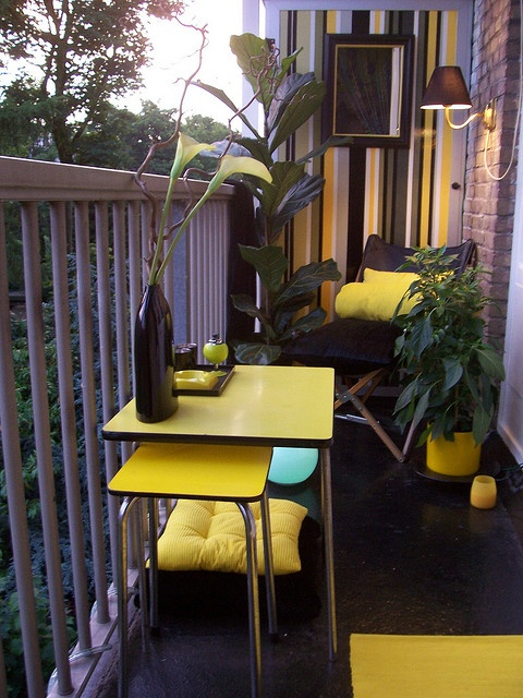 modern small balcony in yellow