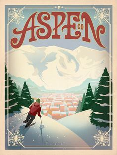 Aspen retro post card