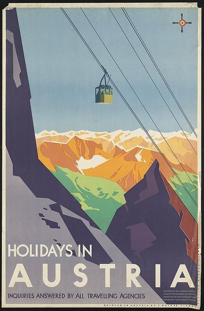 Austria holidays retro postcard