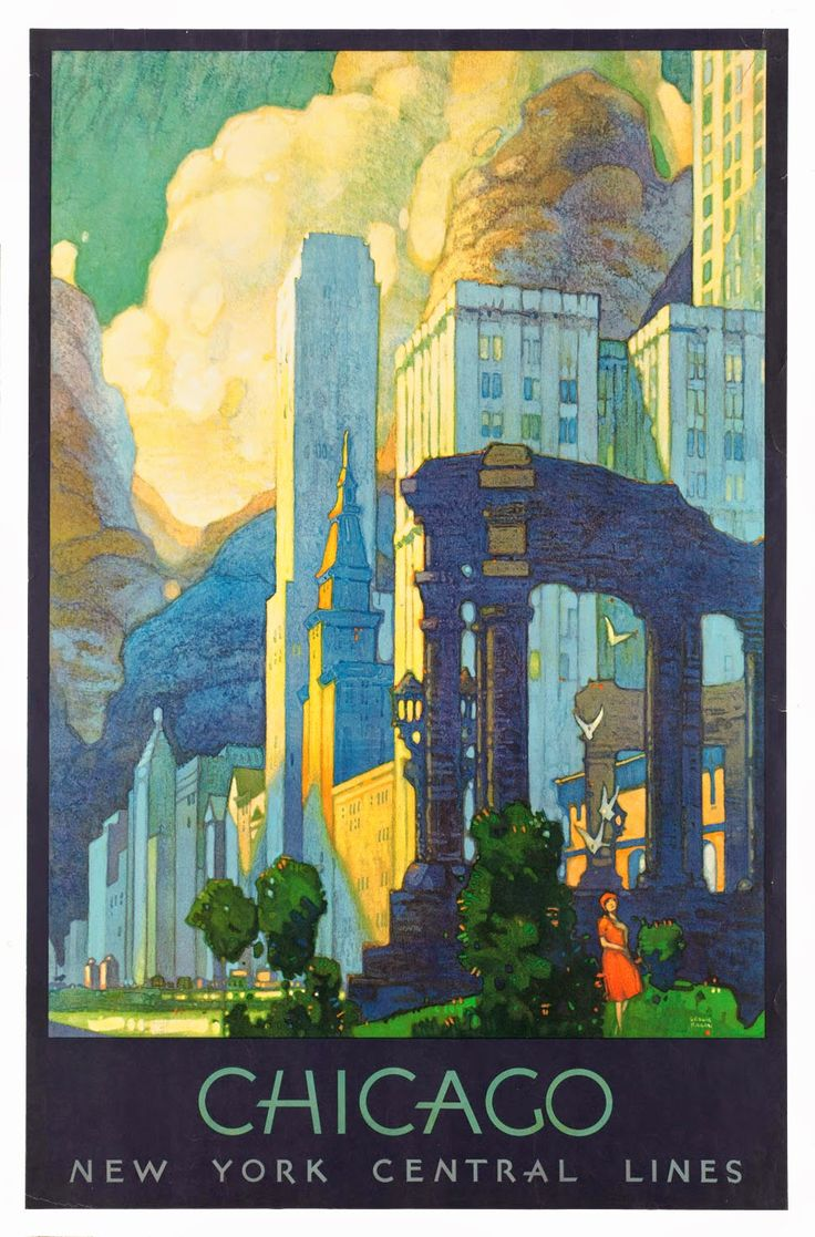 Chicago retro postcard