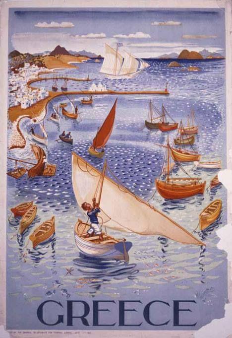 Greece retro postcard with boats