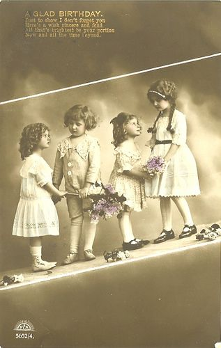 Happy birthday retro post card