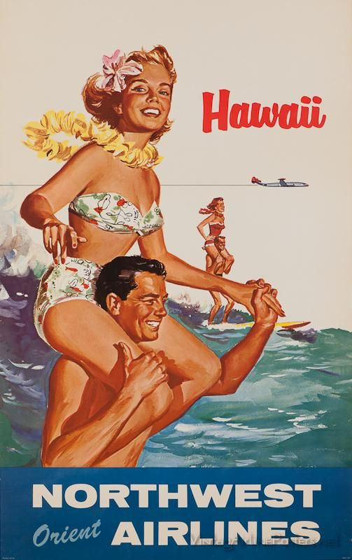 Hawaii happy couple retro postcard