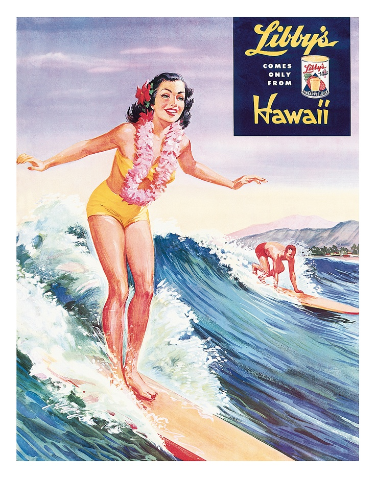 Hawaii surfing woman retro postcard