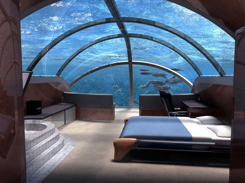 Hotel Conrad Rangali, Maldives seabed in underwater room