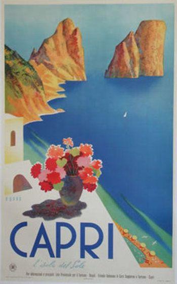Island Capri retro postcard