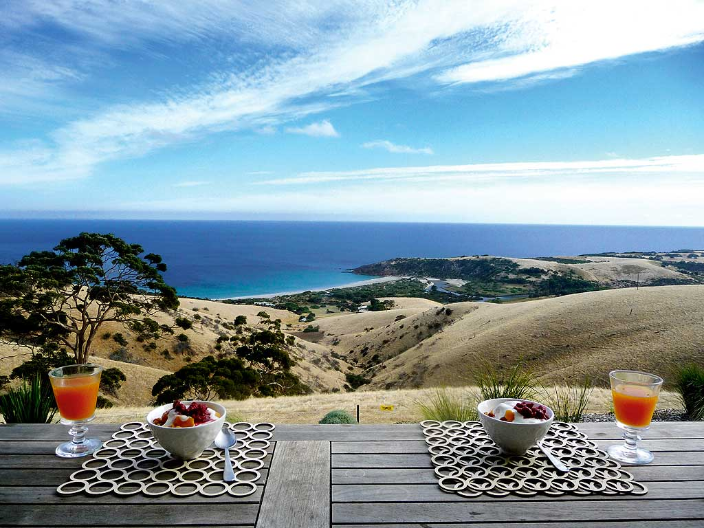 Kangaroo Island Luxury Accommodation breakfast for two with amazingly beautiful view to the shore