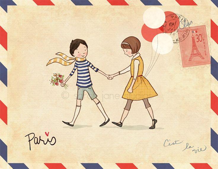 Love Paris retro post card