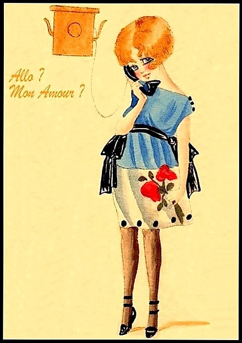 Mon Amour retro post card