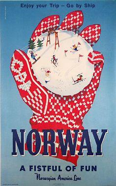 Norway retro post card