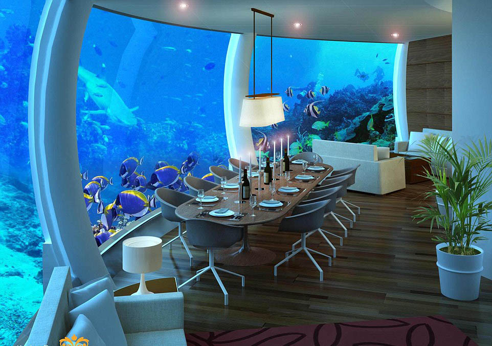 Poseidon underwater resort, Fiji dining room