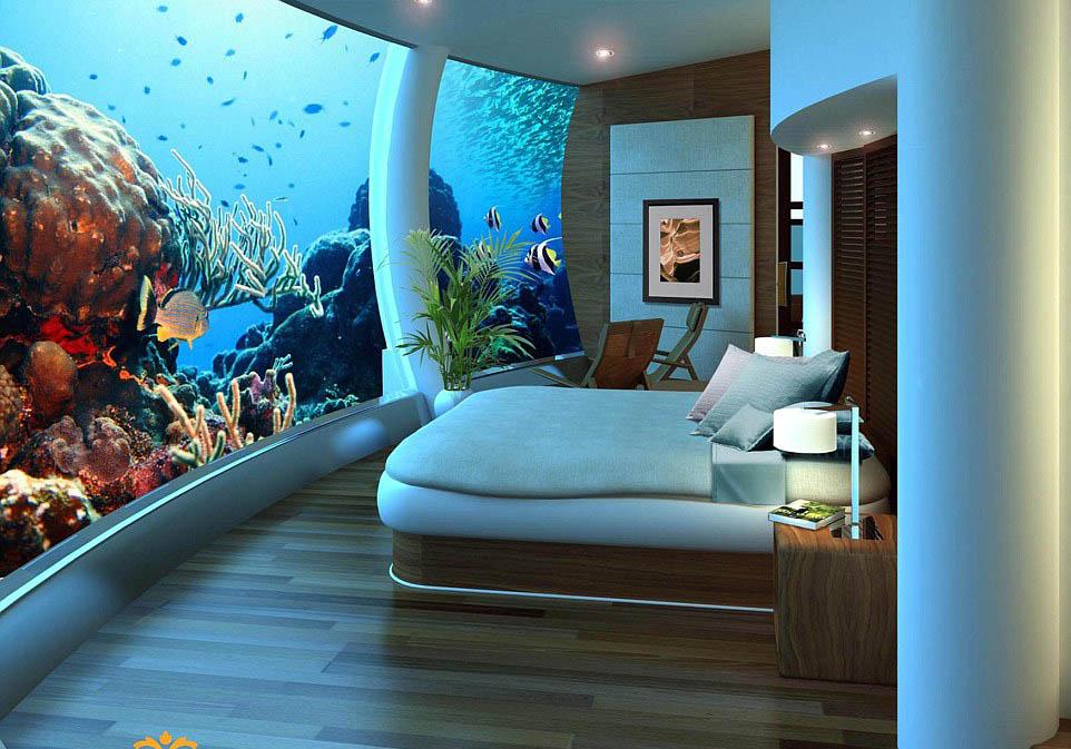 Poseidon underwater resort, Fiji five star hotel underwater bedroom