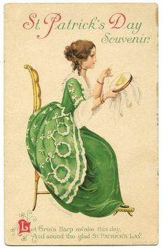 St. Patricks Day souvenir retro post card