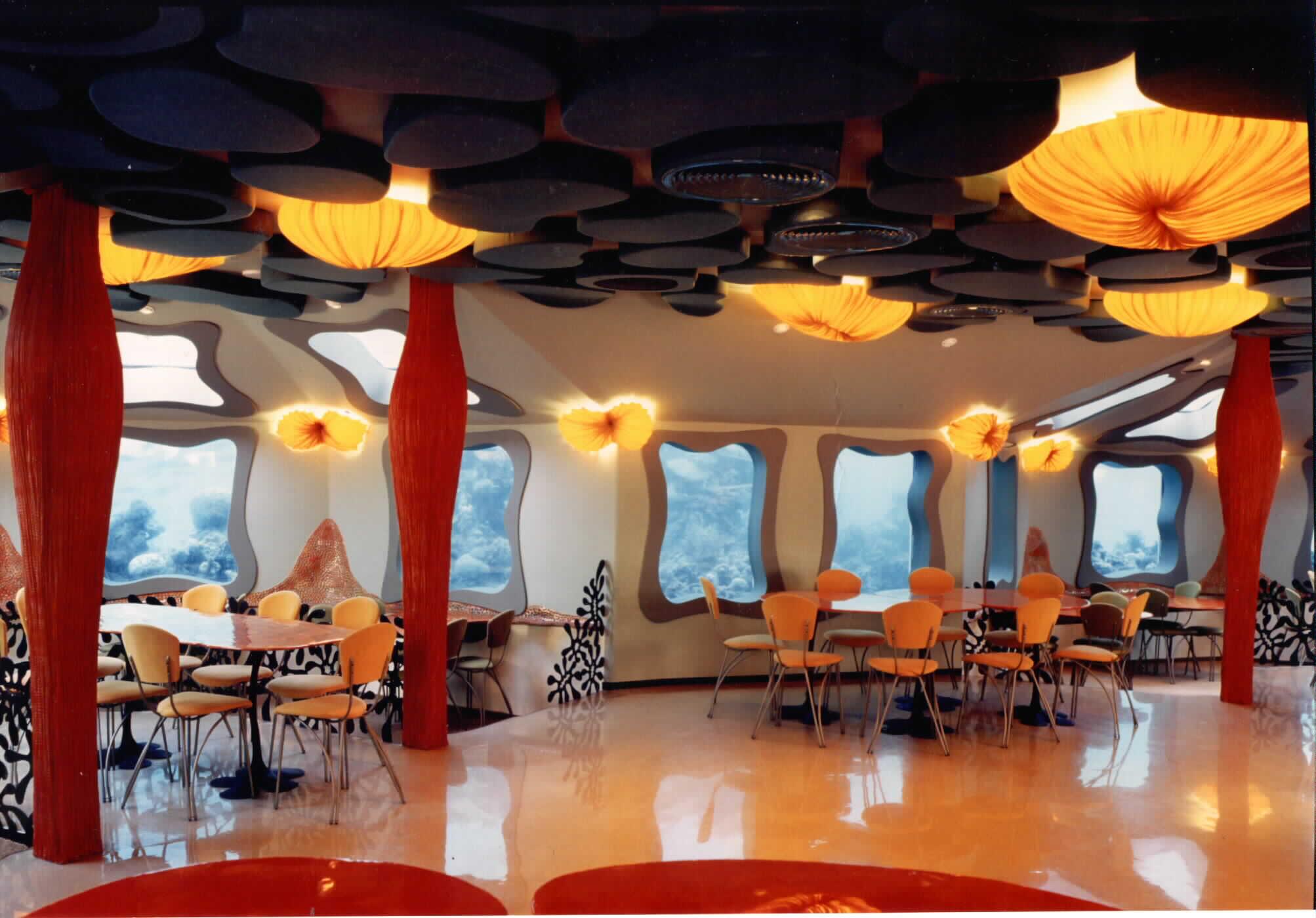 Underwater restaurant the Red Sea Star Eilat Israel main salon