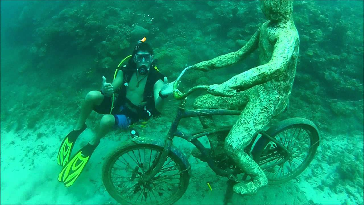 Underwater sculpture park, Grenada Man riding a bike underwater Jason deCaires Taylor