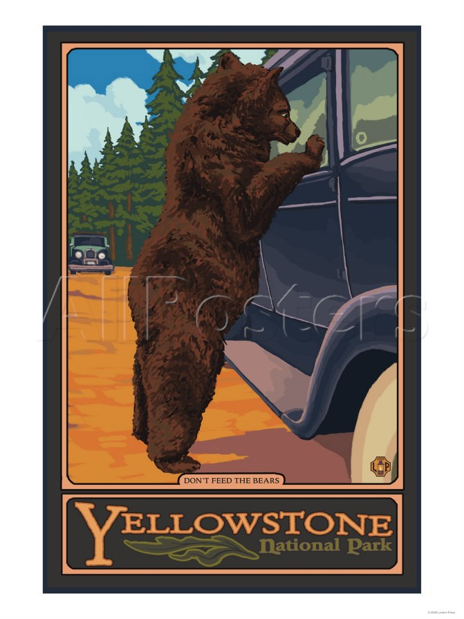 Yellowstone retro post card