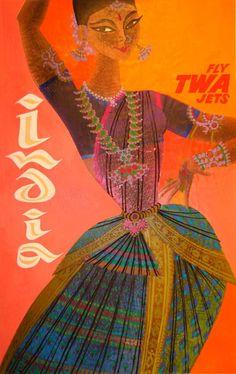 Indian retro post card woman dancing
