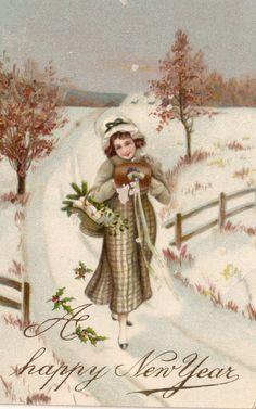 happy new year retro post card