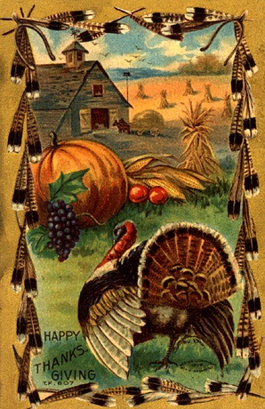 happy thanksgiving retro post card