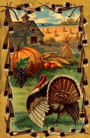happy thanksgiving retro post card
