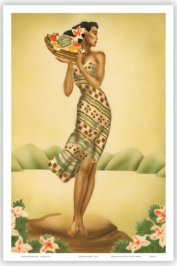 hawaiian woman retro postcard