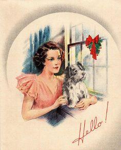 hello retro postcard
