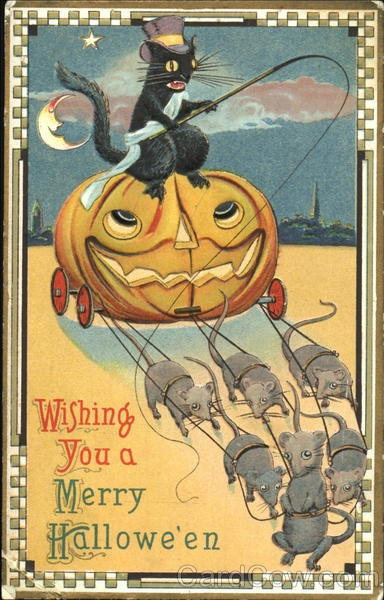 helloween wishing retro post card