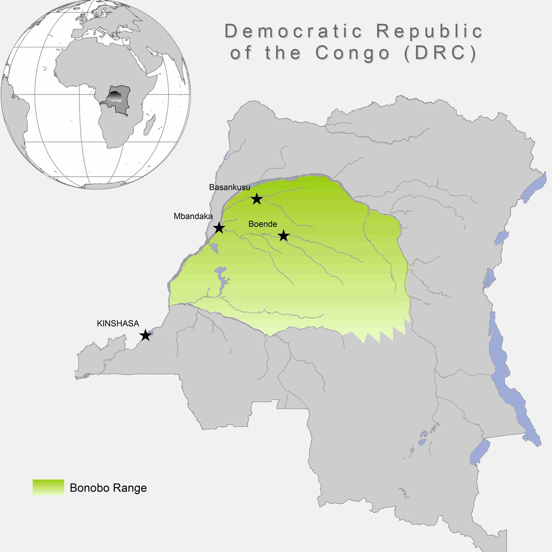 Habitat of Bonobos range map